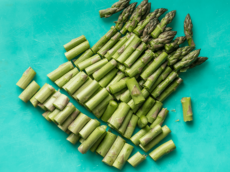 Chop Asparagus into 1-inch sections