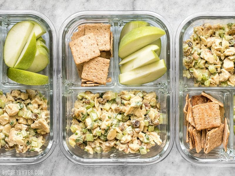 Three Curry Chicken Salad meal prep containers in a row