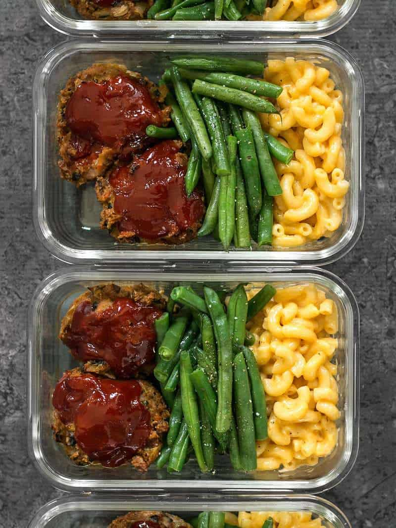 Four glass Garden Vegetable Turkey Loaf Meal Prep containers in a row