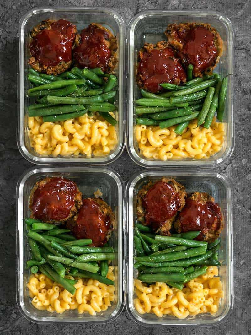 Four glass Garden Vegetable Turkey Loaf Meal Prep containers