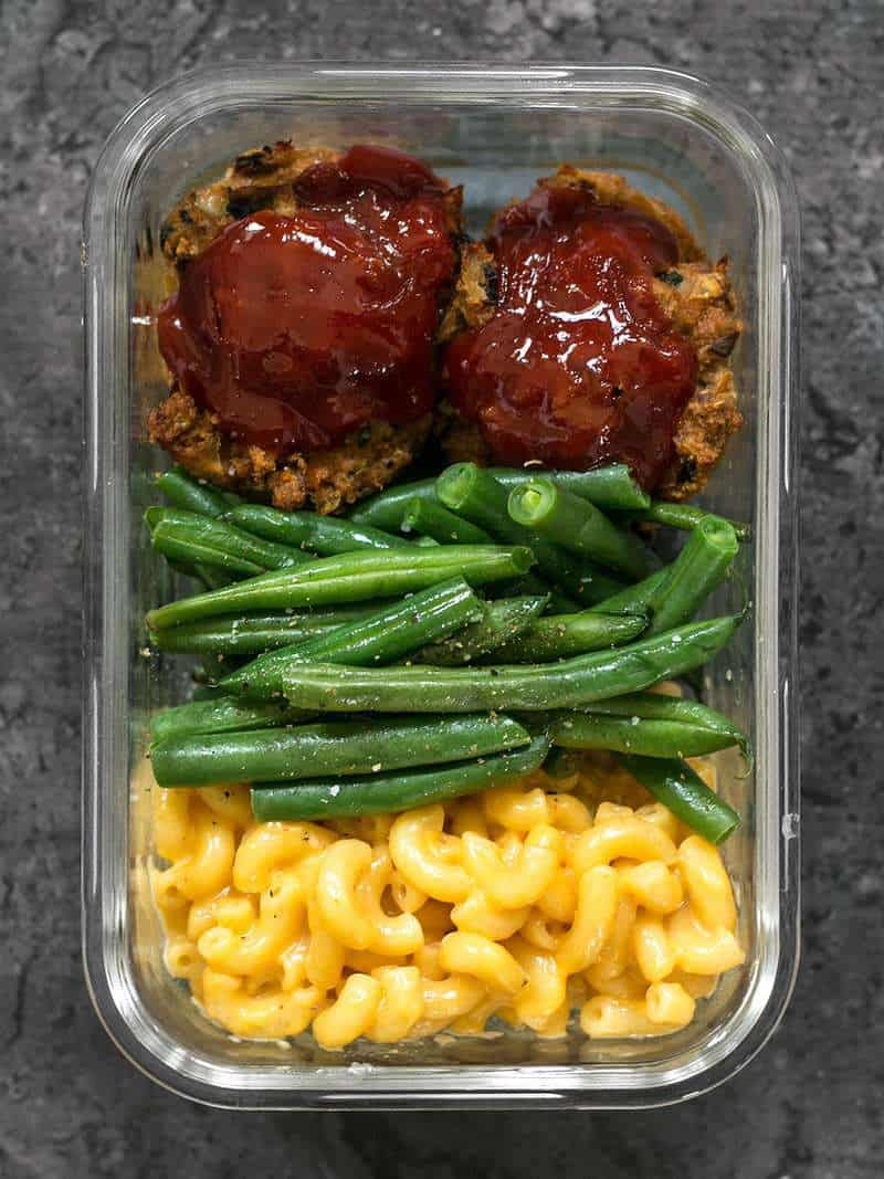 One Garden Vegetable Turkey Loaf Meal Prep container close up