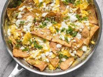 Green Chile Migas is a fast and inexpensive egg dish that is flavorful and filling any time of day, not just for breakfast! BudgetBytes.com