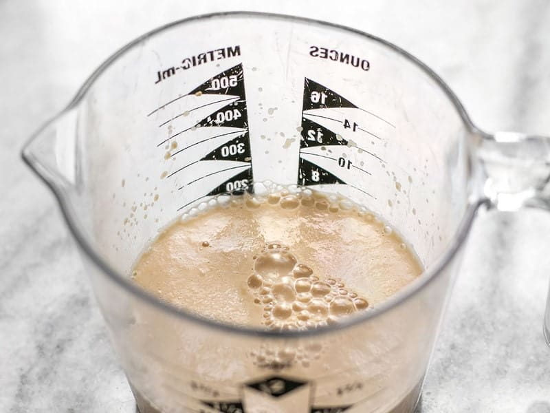 Proofed Yeast in a measuring cup