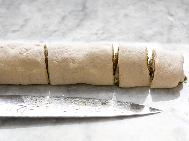 Rolled and sliced stuffed dough