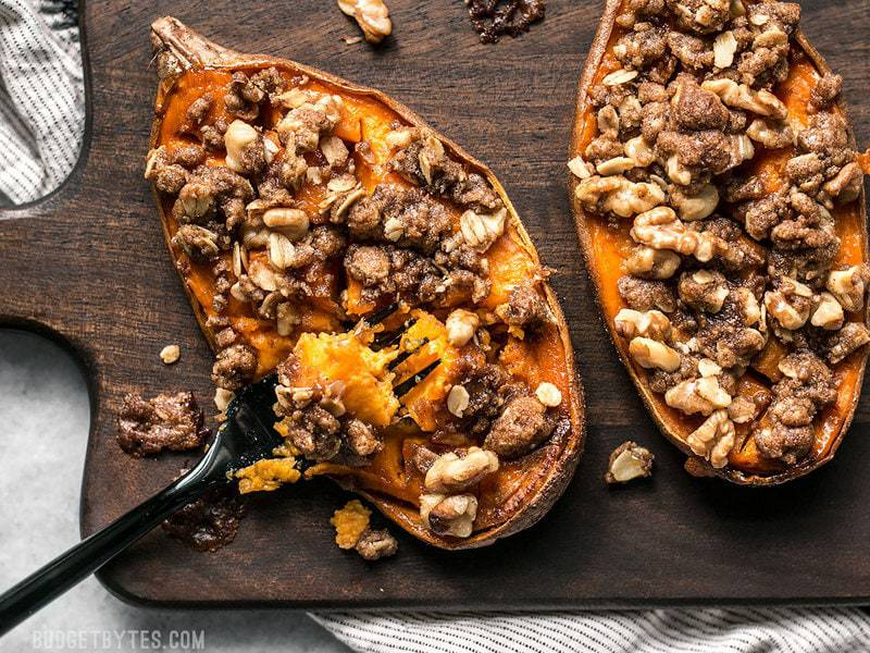 Streuseled Sweet Potatoes are an easy, deconstructed version of the classic sweet potato casserole that is manageable enough for weeknight dessert. BudgetBytes.com