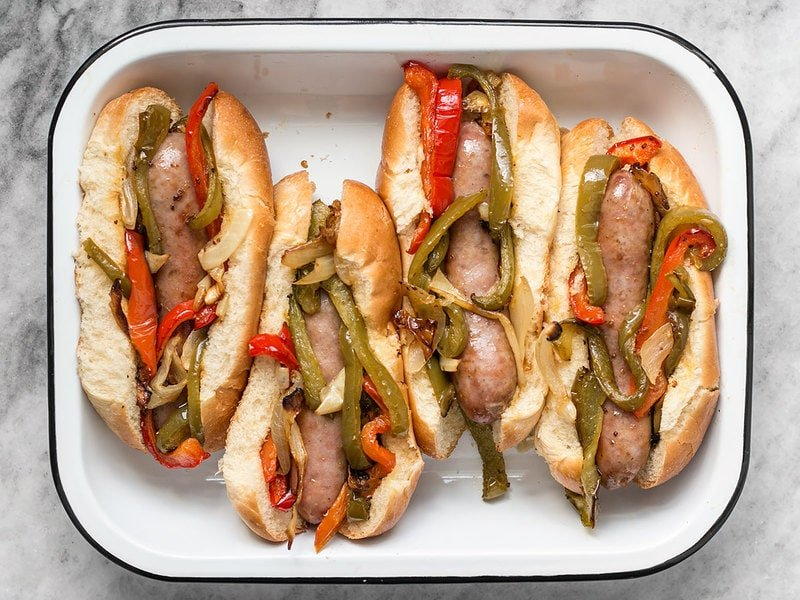 Stuff Buns with Roasted Bratwurst with Peppers and Onions