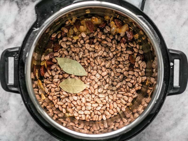Beans Bay Leaves and Pepper in Instant Pot