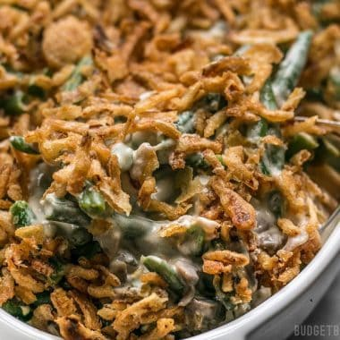 "This is the Creamiest Green Bean Casserole you'll ever make with no ""cream of"" soups. The ingredient list is short and simple, but flavors are classic and comforting. BudgetBytes.com"