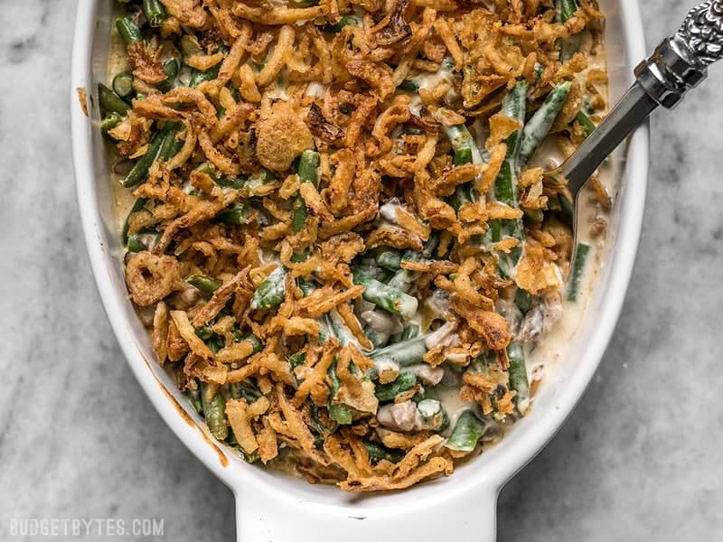 The Creamiest Green Bean Casserole ready to be served. Made with no canned soup!