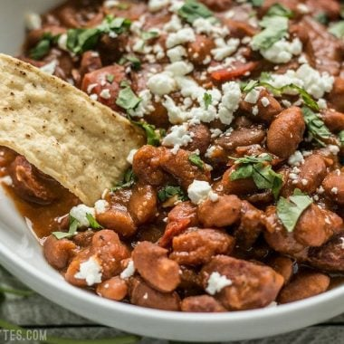 A little bit of Spanish chorizo is all it takes to turn a simple pot of pinto beans into a rich and flavorful meal! BudgetBytes.com