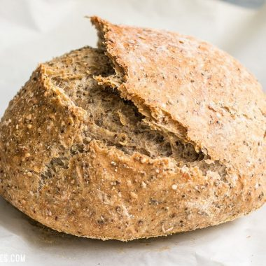 This simple Seeded No-Knead Bread is packed with seeds for extra texture, flavor, and nutrients! BudgetBytes.com