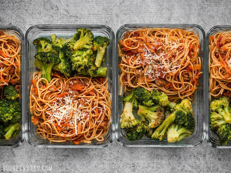 Four Spaghetti Meal Prep containers in a row