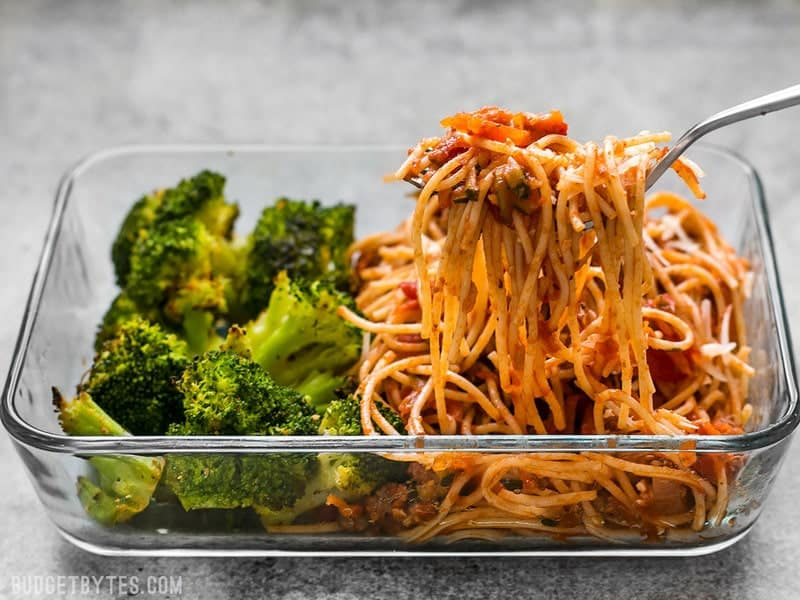 A Spaghetti Meal Prep being eaten with a fork