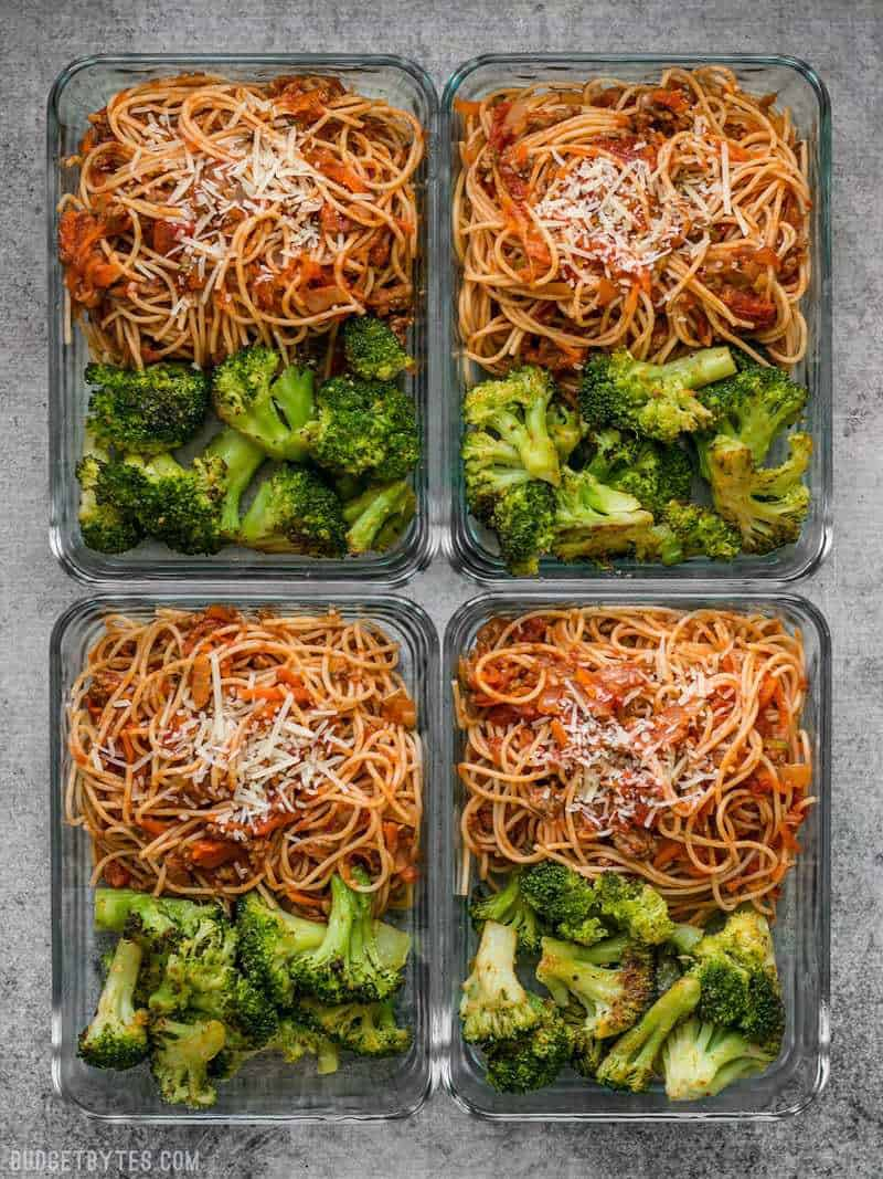 Four Spaghetti Meal Prep containers