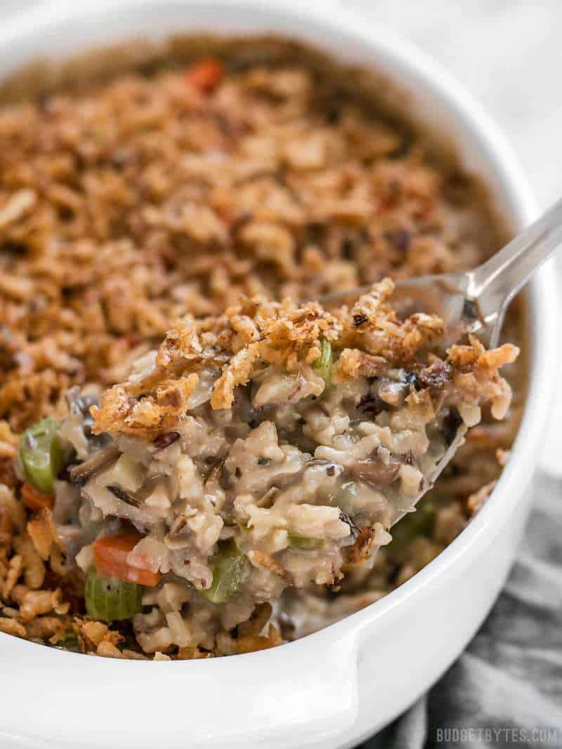 Plenty of vegetables, a hearty wild rice blend, and a super creamy sauce make this Wild Rice and Vegetable Casserole a warm comforting dish for winter! BudgetBytes.com