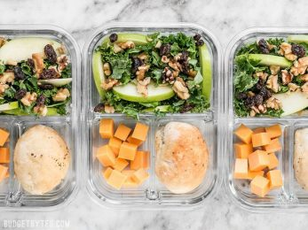 This Apple Dijon Kale Salad Meal Prep is full of texture and bright flavors, and is sure to keep you full for hours. BudgetBytes.com