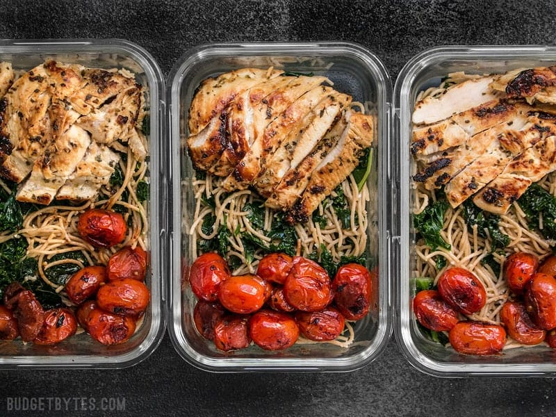 Three Garlic Parmesan Kale Pasta Meal Prep containers in a row