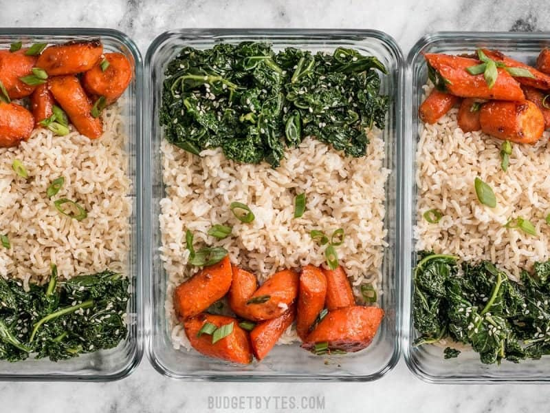 Three Maple Miso Roasted Carrot Meal prep containers in a row