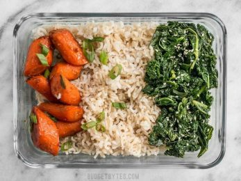 This Maple Miso Roasted Carrot Meal prep is easy, healthy, has tons of flavor, and plenty of ways to customize! BudgetBytes.com