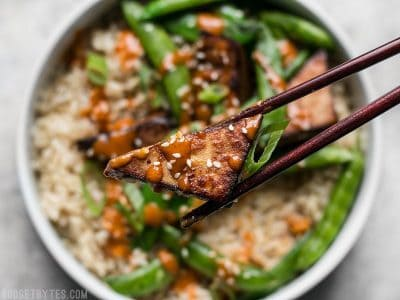 Soy Marinated Tofu Bowls with Spicy Peanut Sauce