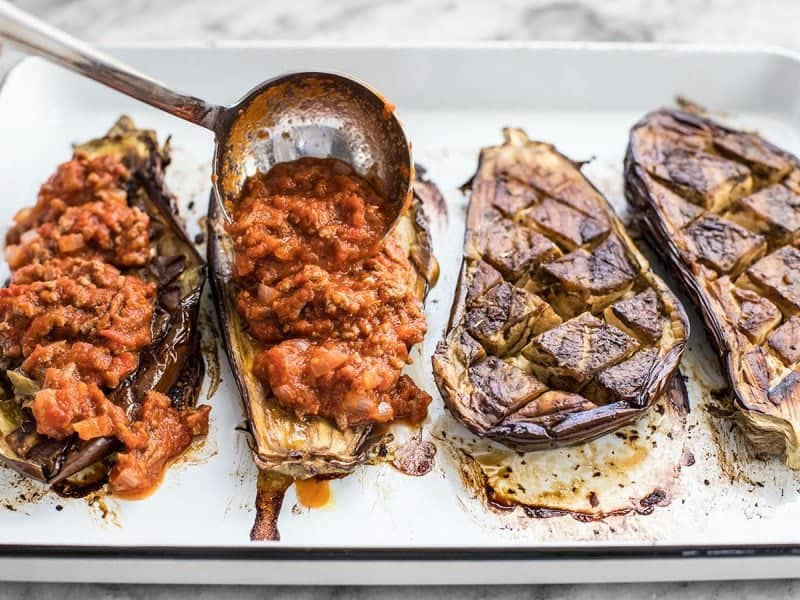 Add Meat Sauce to Roasted Eggplant