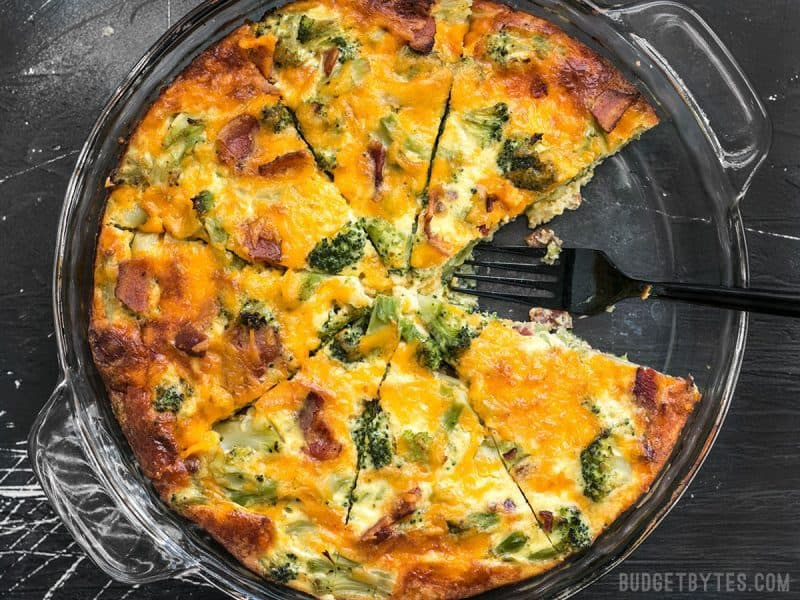 Keep all the ingredients for this Bacon Broccoli Cheddar Crustless Quiche on hand for an easy low-carb breakfast (or dinner!) BudgetBytes.com
