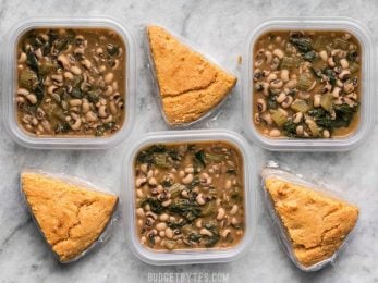 This Black Eyed Peas Meal Prep is comfort food defined and will keep you full, warm, and cozy during these cold winter days. BudgetBytes.com