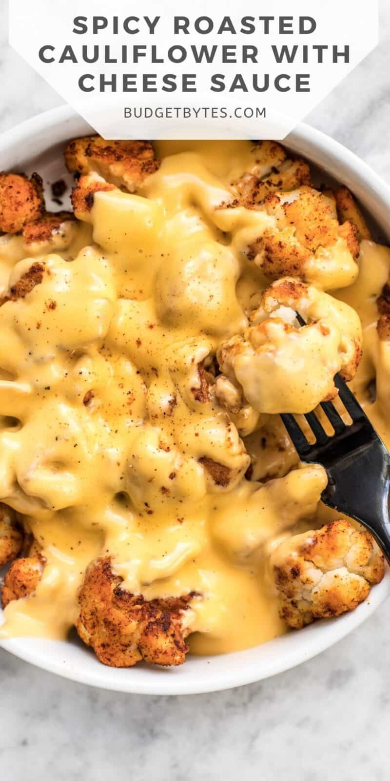 close up of a bowl of roasted cauliflower covered in cheese sauce, title text at the top