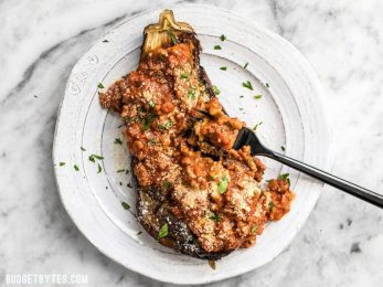 Roasted Eggplant with Meat Sauce is an elegant low carb main dish that will leave you satisfied. Pair with a simple green salad for a complete meal. BudgetBytes.com