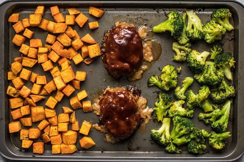 Roasted Sheet Pan BBQ Meatloaf Dinner Finished