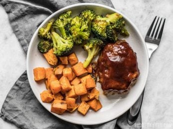 Make an entire dinner for two at one time with this fast and easy Sheet Pan BBQ Meatloaf Dinner. Perfect for meal prep! BudgetBytes.com