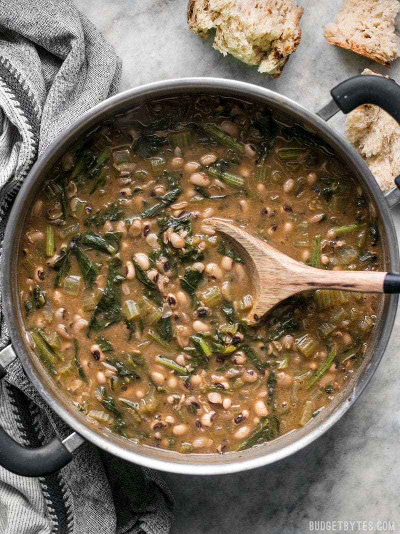 Big pot of warm and comforting Slow Simmered Black Eyed Peas with Greens