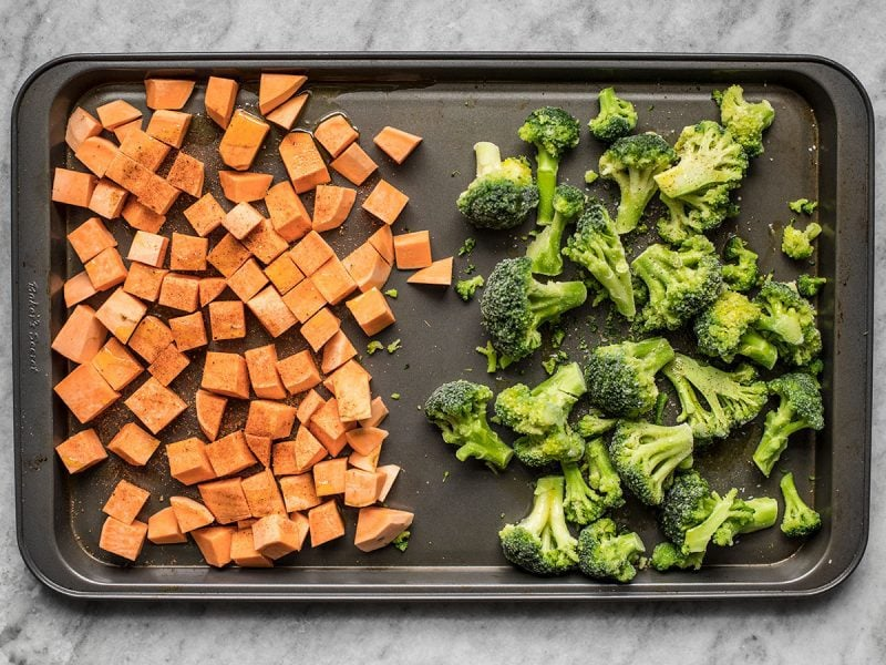 Sweet Potatoes and Broccoli on sheet pan