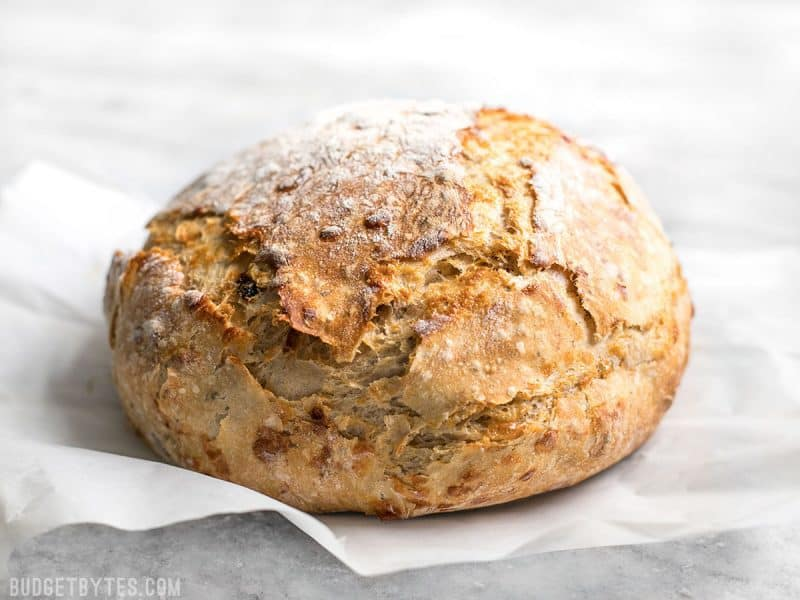 Side view of freshly baked Tomato Basil No Knead Bread