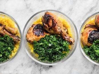 This Chicken Adobo Meal Prep combines overnight marinated chicken, rice cooked with warm spices, and simple sautéed kale for a well rounded and filling meal. BudgetBytes.com