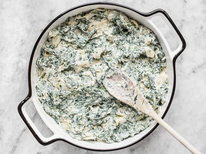 Double Spinach Artichoke Dip in Dish