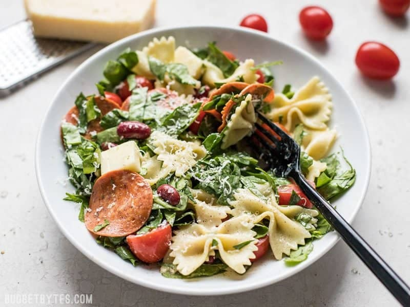 Front view of Pepperoni Pasta Salad in a bowl with a fork