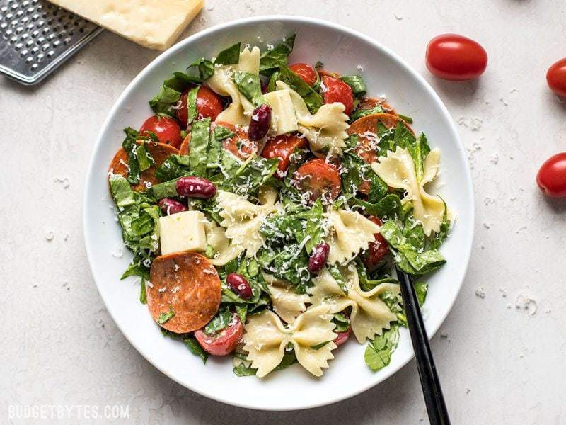Finish Pepperoni Pasta Salad with Parmesan
