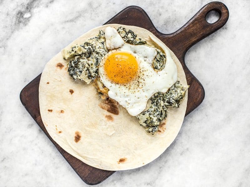 Spinach Artichoke Quesadilla with Egg