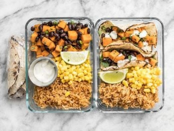This simple Sweet Potato Taco Meal Prep box is easy, vegetarian, and a full flavored make ahead lunch. BudgetBytes.com