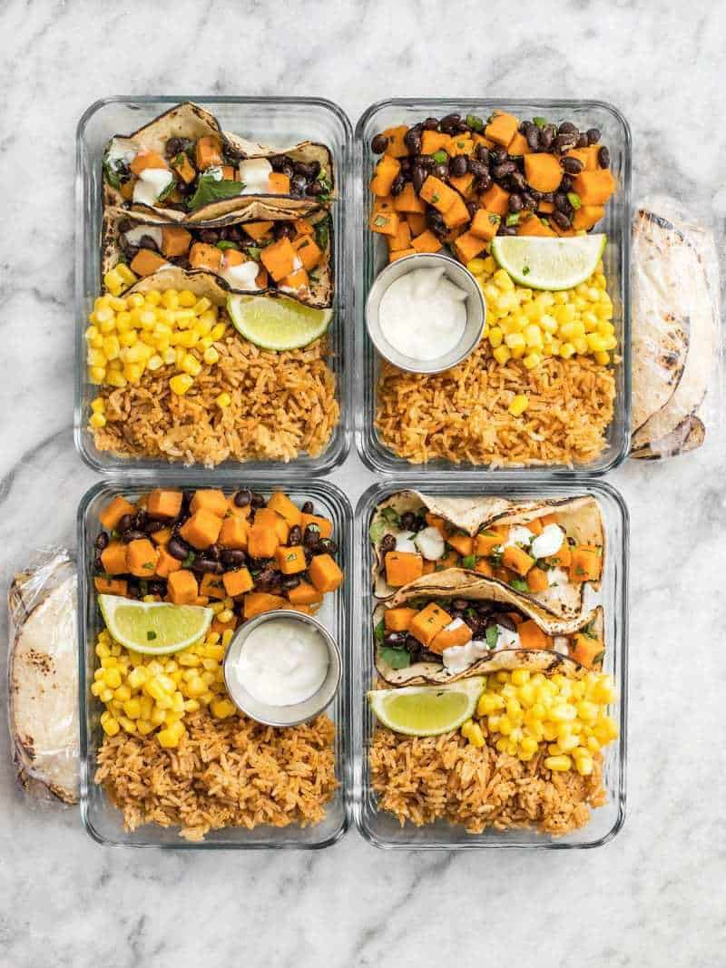Sweet potato taco meal prep budget bytes this simple sweet potato taco meal prep box is easy vegetarian and a full forumfinder Images