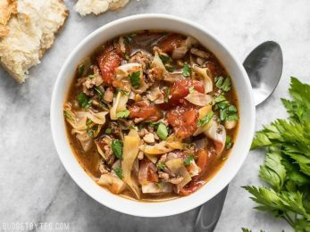 Light, but filling, this Beef and Cabbage Soup will fill you up without weighing you down, and will keep you warm from the inside out. BudgetBytes.com
