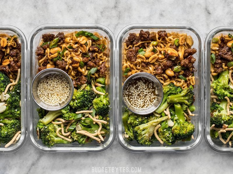 Pork and Peanut Dragon Noodle Meal Prep containers lined up in a row