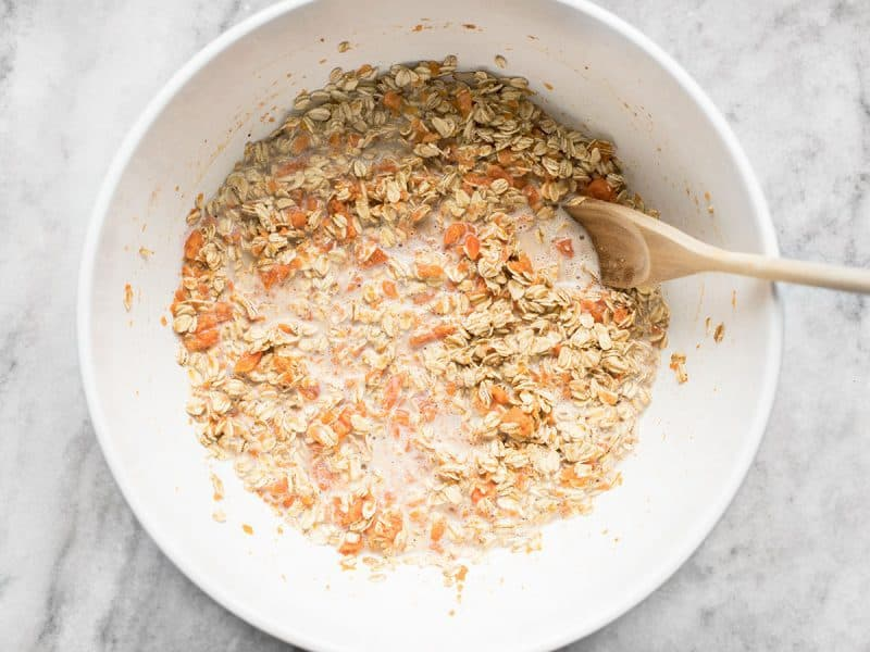 Whisk in Milk Oats Walnuts and Raisins