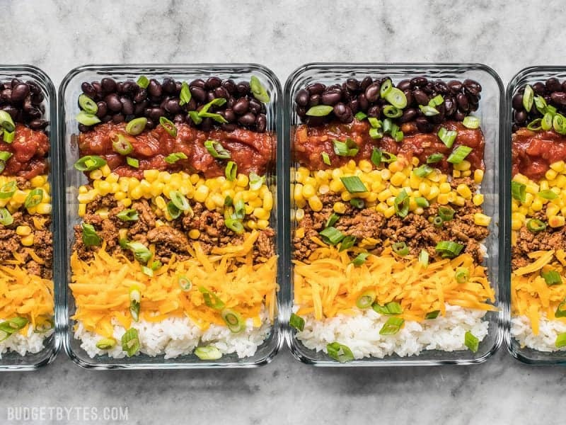 Easiest Burrito Bowl Meal Prep Containers