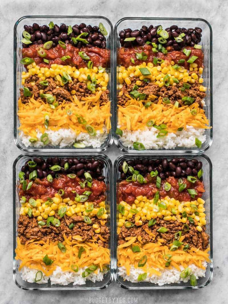 Build Burrito Bowls in the meal prep containers