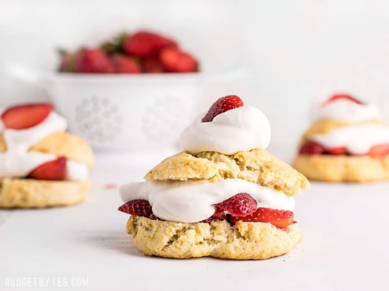 Side view of three Strawberry Shortcakes with a bowl of strawberries in the background