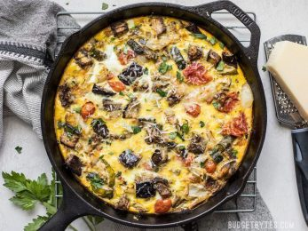 Ratatouille Frittata combines the rich and complex flavors of ratatouille with the ease of an egg frittata. Great for low carb dieters or using up that summer bumper crop! BudgetBytes.com
