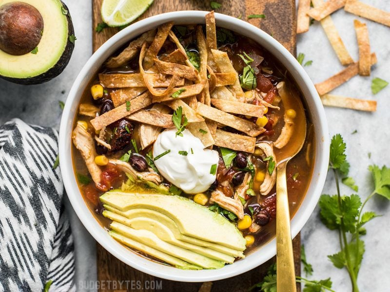 This Slow Cooker Chicken Tortilla Soup offers a deep, comforting, smoky flavor with simple ingredients and minimal effort. BudgetBytes.com