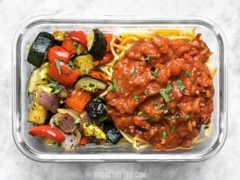 Comfort food and a generous helping of good-for-you vegetables, this Spaghetti and Roasted Vegetable Meal Prep is the best of both worlds! BudgetBytes.com